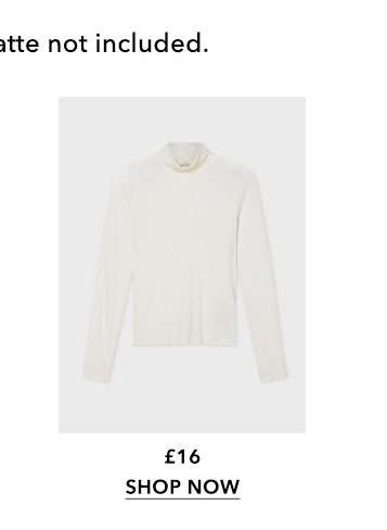 Ivory Rib Roll Neck Top
