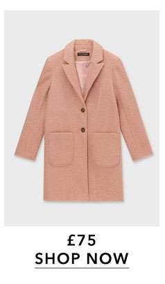 Pink Boucle Pocket Coat