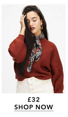 Rust Soft Touch Funel Neck knitted Jumper
