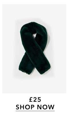 Dark Green Oversized Faux Fur Scarf