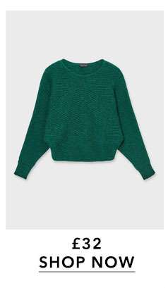 Green Batwing Knitted Jumper