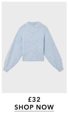 Blue Soft Touch Funnel Neck Rib Knitted Jumper