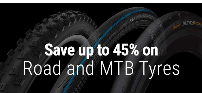 Save up to 45% on Road and MTB Tyres