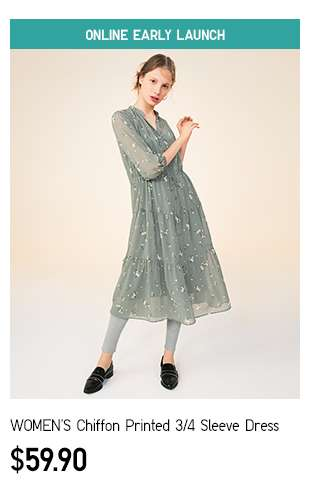 NEW! Women's Chiffon Printed 3/4 Sleeve Dress at $59.90