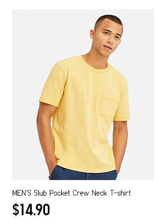 NEW! Men's Slub Pocket Crew Neck T-shirt at $14.90
