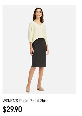 NEW! Women's Ponte Pencil Skirt at $29.90