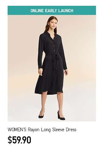 NEW! Women's Rayon Long Sleeve Dress at $59.90