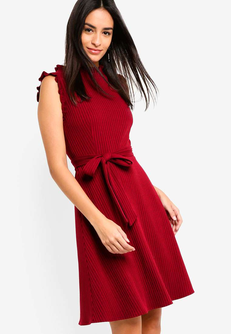 Ruffles Trimmed Rib Dress
