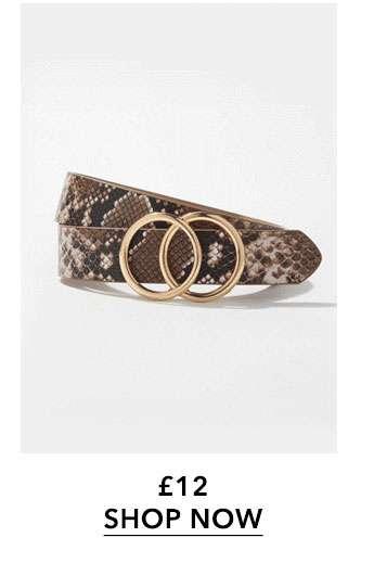 Brown Snake Print Double Circle Belt