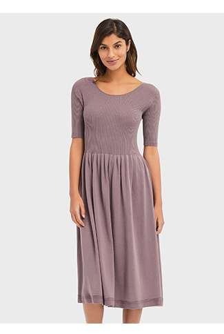 WOMEN's 3D Cotton Ribbed Half Sleeve Dress at $79.90