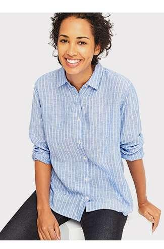 WOMEN's Premium Linen Long Sleeve Shirt at $49.90
