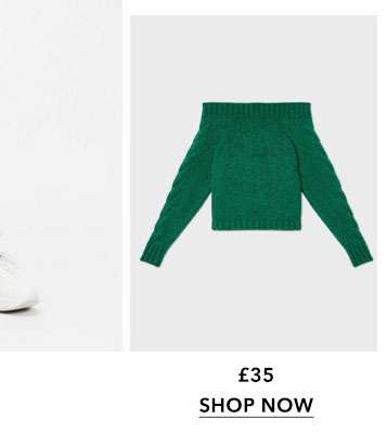 Green Cable Sleeve Bardot Knitted Jumper