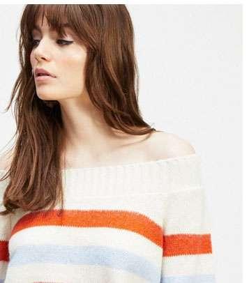 Cream Stripe Bardot Knitted Jumper