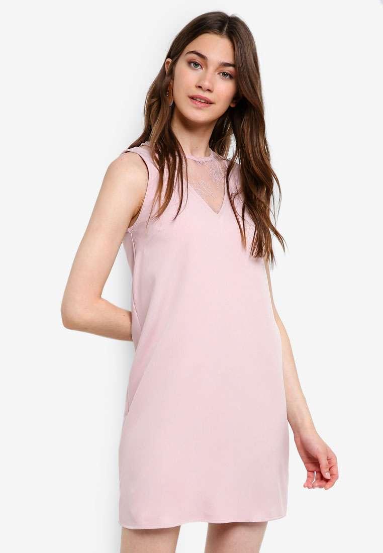 Lace Panel Sleeveless Shift Dress