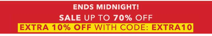 Ends midnight! sale up to 70% off