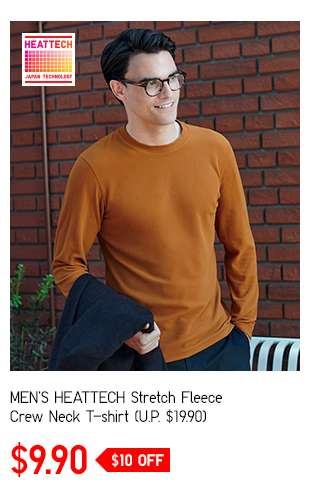 SALE! Men's HEATTECH Stretch Fleece Crew Neck T-shirt at $9.90