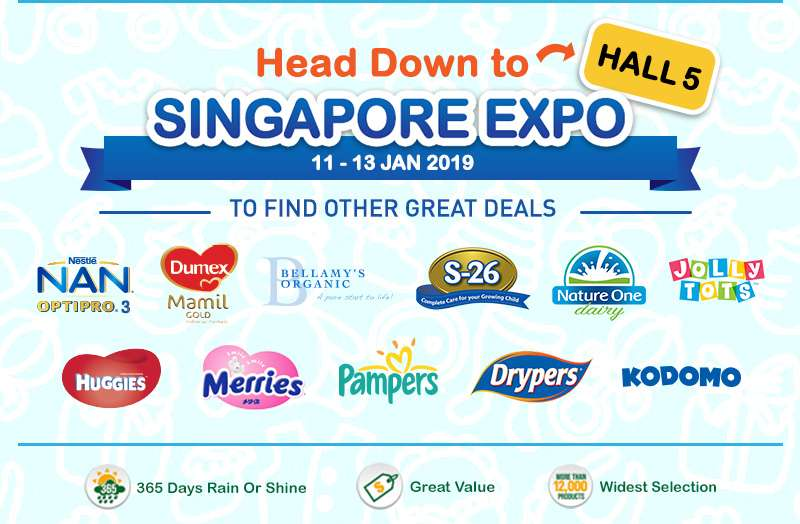 Head Down to Singapore Expo Hall 5 at 11-13 January 2019 to find other Great Deals