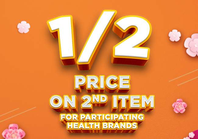 1/2 Price on 2nd Item across Participating Health Brands!