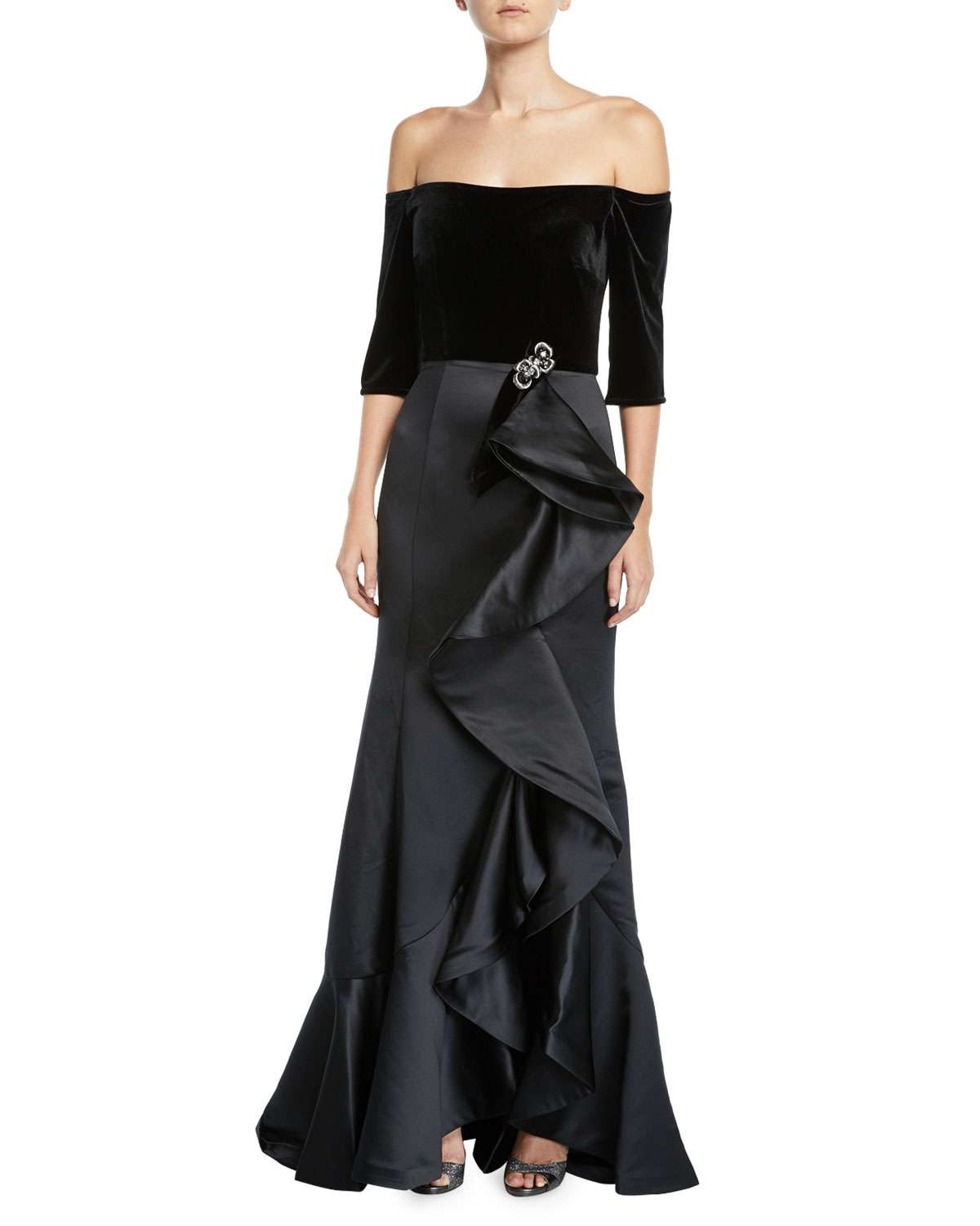 Off-the-Shoulder Velvet & Taffeta Gown