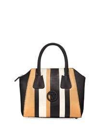 Valentino By Mario Valentino Minimi Striped Leather Satchel Bag