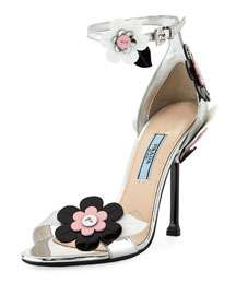 Prada Floral Ankle-Wrap 110mm Sandal