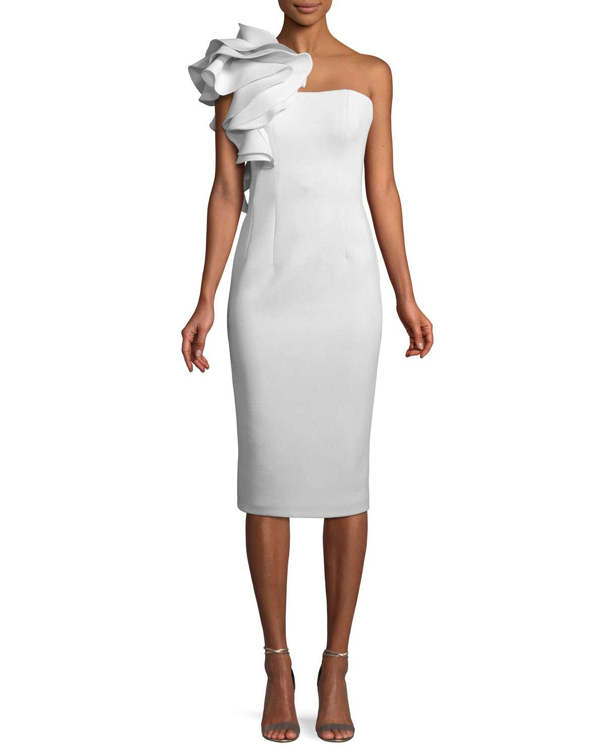 Marshmallow Ruffle-Shoulder Sheath Cocktail Dress