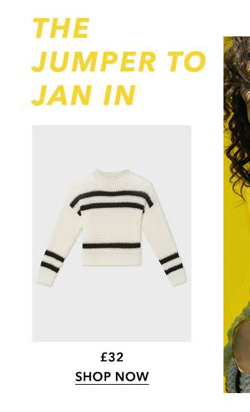 Cream Textured Striped Knitted Jumper