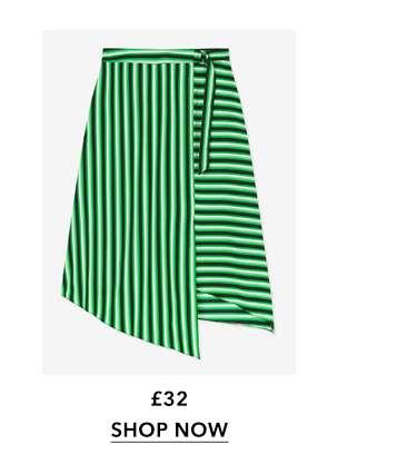 Green Stripe Midi Skirt