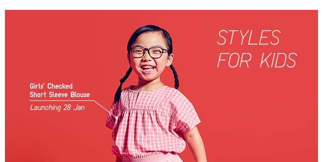 Girls' Checked Short Sleeve Blouse (Launching 28 January)