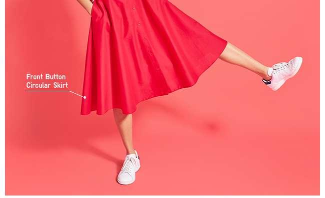 Women's Front Button Circular Skirt