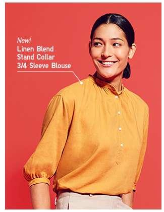 Women's Linen Blend Stand Collar 3/4 Sleeve Blouse