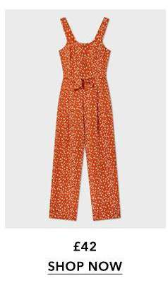Rust Animal Button Pinny Jumpsuit