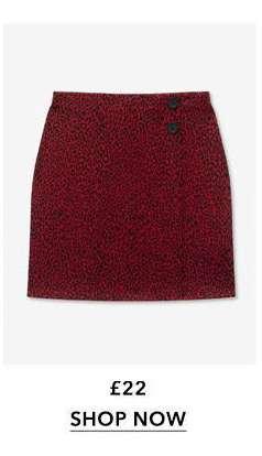 Red Leopard Print Mini Skirt
