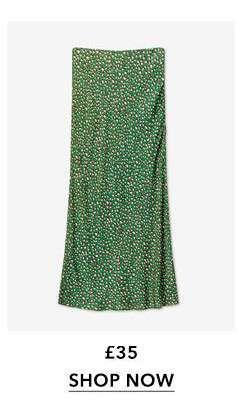 Green Leopard Satin Bias Midi Skirt