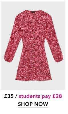 Burgundy Sweetheart Ditsy Print Dress