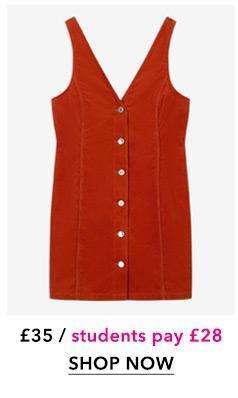 Rust Corduroy V-Neck Pinafore Dress
