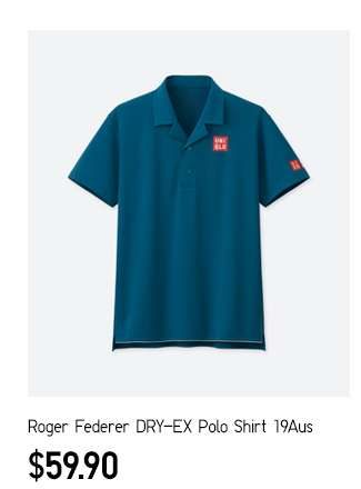 Roger Federer DRY-EX Polo Shirt 19Aus at $59.90