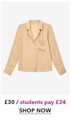 Cream Collar Utility Shirt