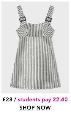 Monochrome Buckle Strap Pinny Dress