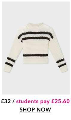 Cream Textured Striped Knitted Jumper