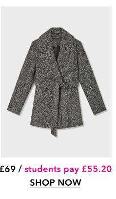 Grey Boucle Short Wrap Coat