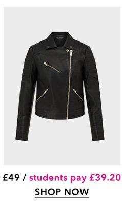 Black Bella PU Biker Jacket