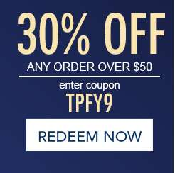 30% off any order over $50. Enter coupon TPFY9. Redeem now. Hurry, expires at Midnight EST.