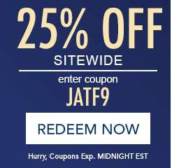 25% off sitewide. Enter coupon JATF9. Redeem now. Hurry, expires at Midnight EST.
