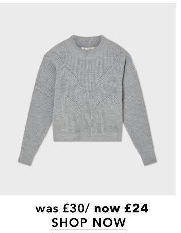 Grey Funnel Neck Pointelle Knitted Jumper