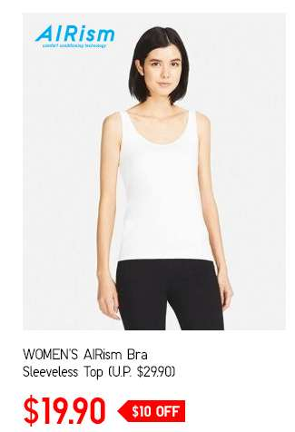 Limited Offer! Women's AIRism Bra Sleeveless Top at $19.90