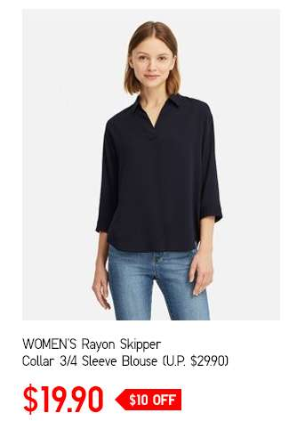 Shop Women's Rayon Skipper Collar 3/4 Sleeve Blouse
