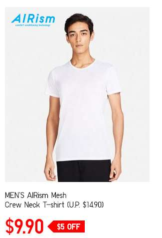 Limited Offer! Men's AIRism Mesh Crew Neck T-shirt at $9.90