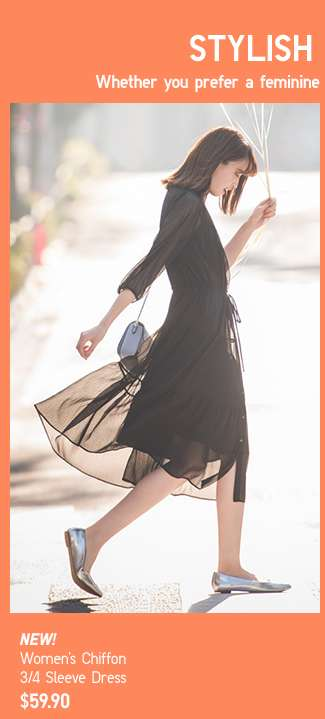 NEW! Women's Chiffon 3/4 Sleeve Dress at $59.90