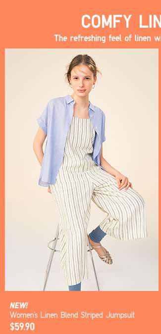 Women's Linen Blend Striped Jumpsuit at $59.90